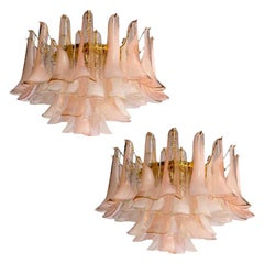 Pair of Charming Pink and White Murano Petals Chandeliers or Ceiling Lights