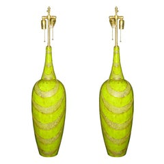 Pair of Chartreuse Lacquer Vessels with lamp application.