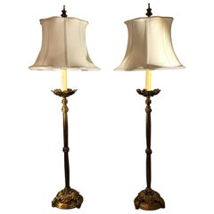 Pair of Chelsea House Cast Brass Tall Buffet Lamps