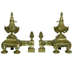 Pair of Chenets or Andirons with Urns Motif and Acorn Finials, 19th Century