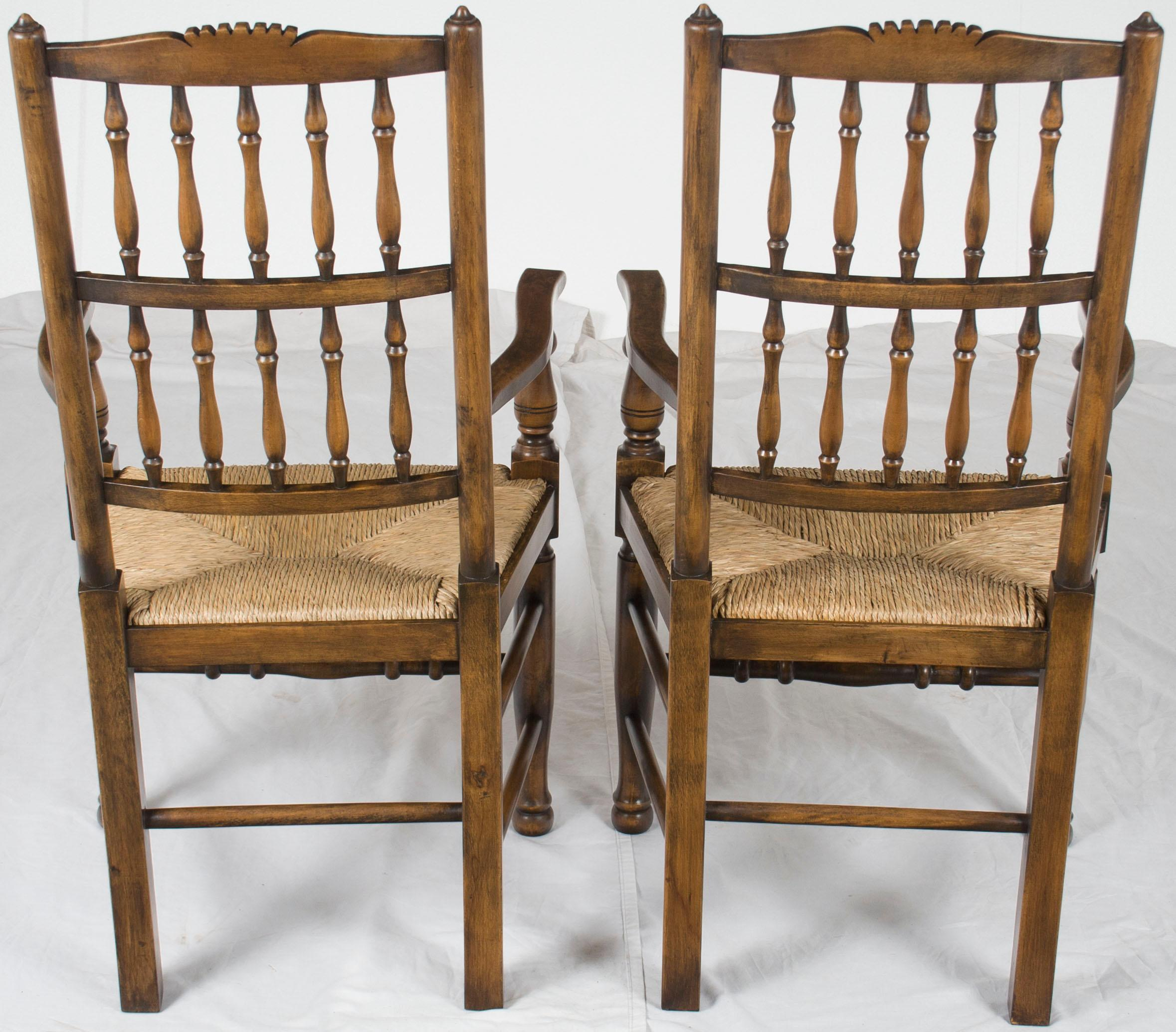 C19th Pair Of Oak Spindle Back Rush Seat Country Chairs Modern Techniques georgian Dining Side