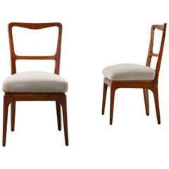 Pair of Cherry Wood & Fabric Chairs by  Paolo Buffa in Bespoke Mohair Velvet