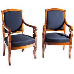 Pair of Cherrywood Armchairs, France, First Half of the 19th Century