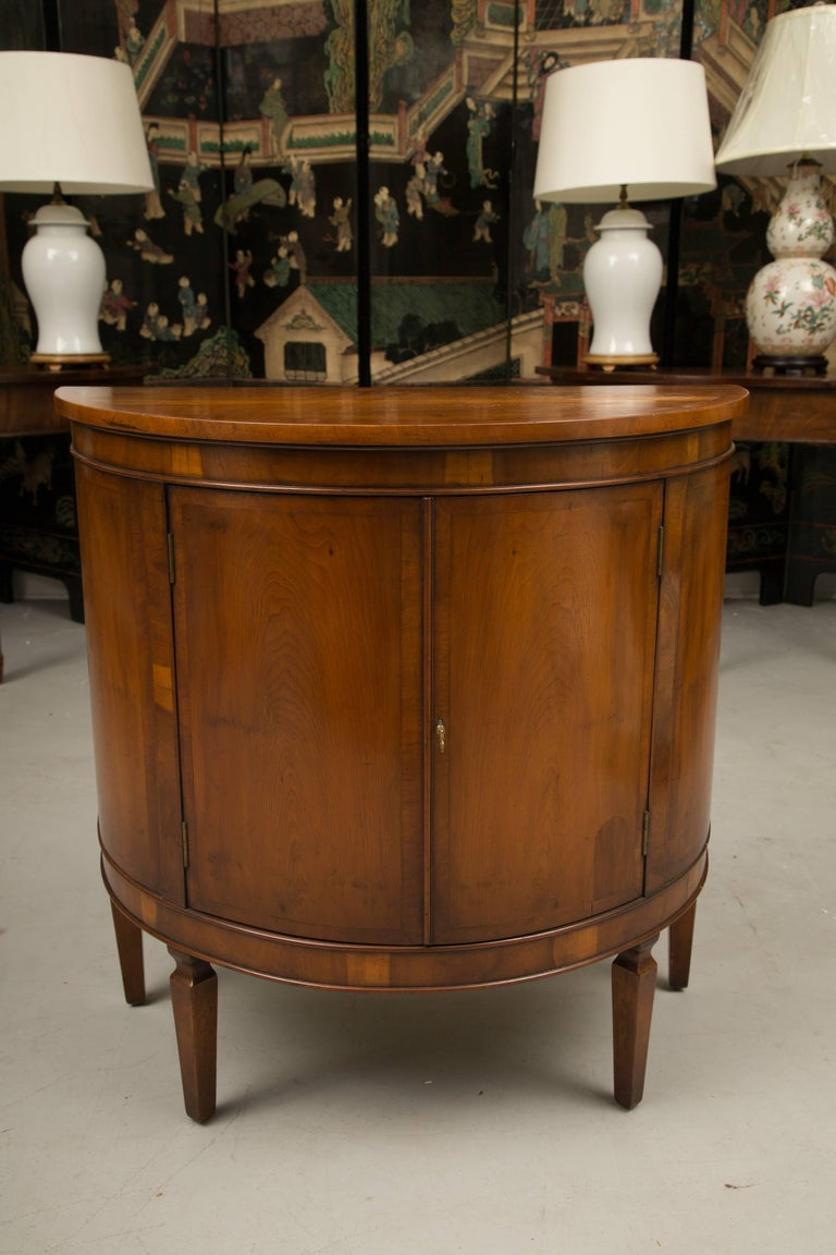 Italian Pair of Cherrywood Biedermeier Style Demilune Cabinets For Sale