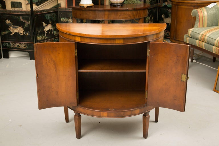Pair of Cherrywood Biedermeier Style Demilune Cabinets In Good Condition For Sale In WEST PALM BEACH, FL