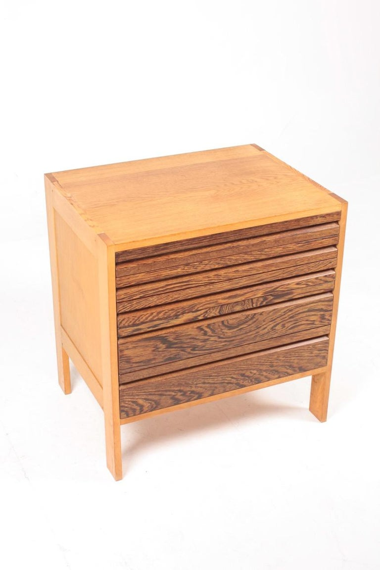 Pair of Chest of Drawers in Oak and Wenge, Made in Denmark, 1960s 7