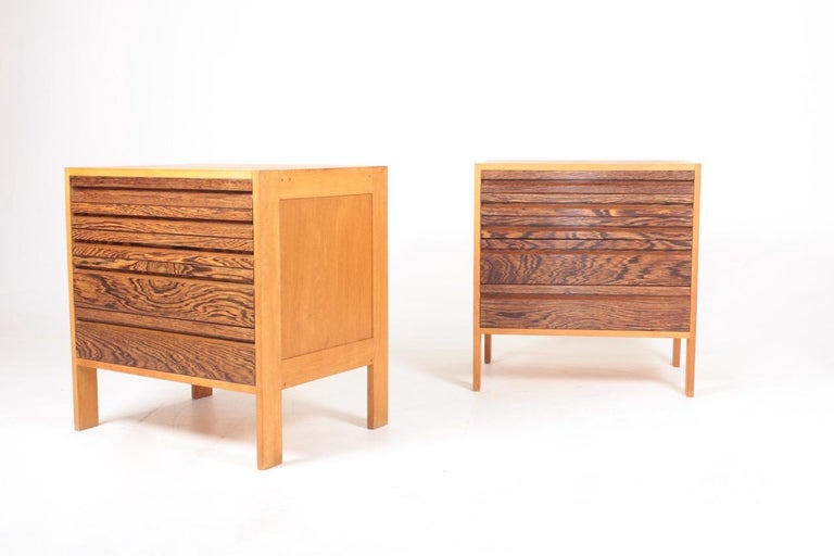 Pair of chest of drawers waxed Scandinavian oak and wenge. Designed and made in Denmark in the 1960s. Great original condition.