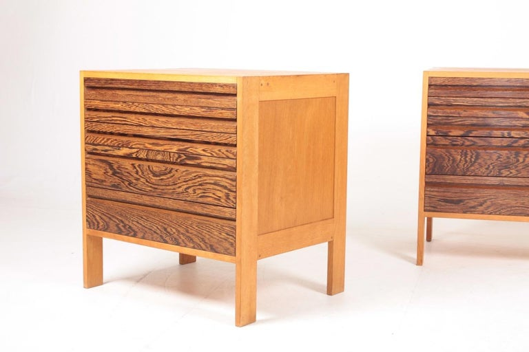Scandinavian Modern Pair of Chest of Drawers in Oak and Wenge, Made in Denmark, 1960s