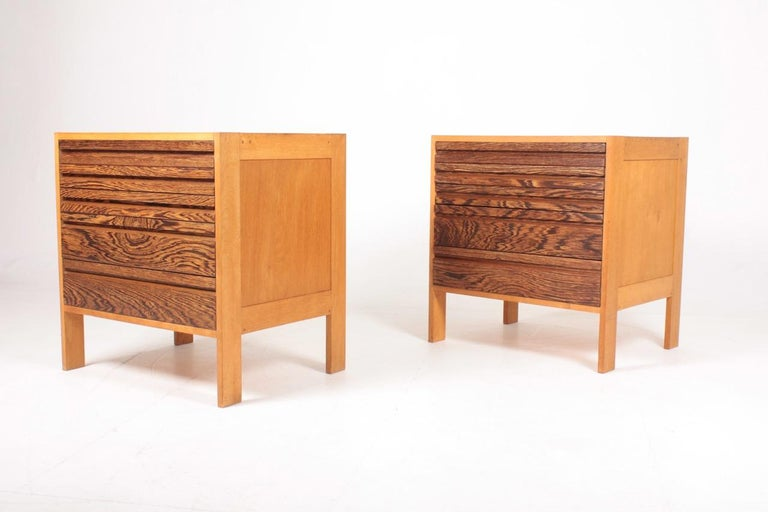 Danish Pair of Chest of Drawers in Oak and Wenge, Made in Denmark, 1960s