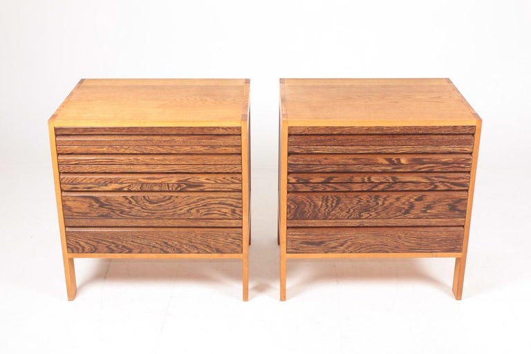 Pair of Chest of Drawers in Oak and Wenge, Made in Denmark, 1960s In Good Condition In Lejre, DK