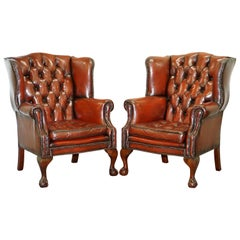 Pair of Chesterfield Claw & Ball Chippendale Wingback Brown Leather Armchairs