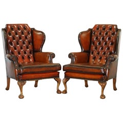 Pair of Chesterfield Claw and Ball Luxury Wingback Armchairs Cigar Brown Leather
