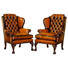 Pair of Chesterfield Claw & Ball Restored Wingback Armchairs Cigar Brown Leather
