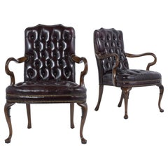 Pair of Vintage Chesterfield Leather Armchairs
