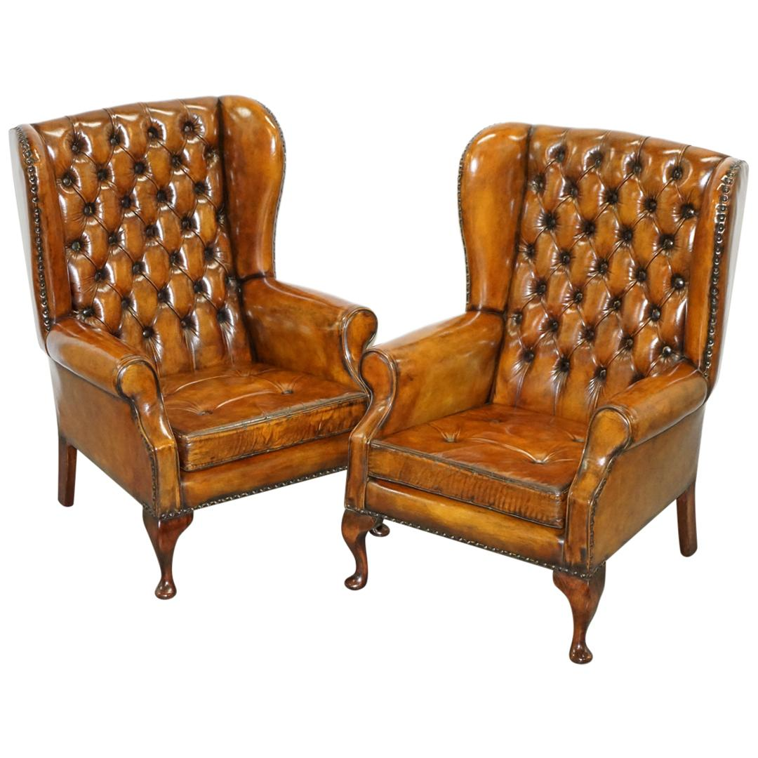 Pair of Chesterfield Thomas Chippendale Wingback Armchairs Cigar Brown Leather