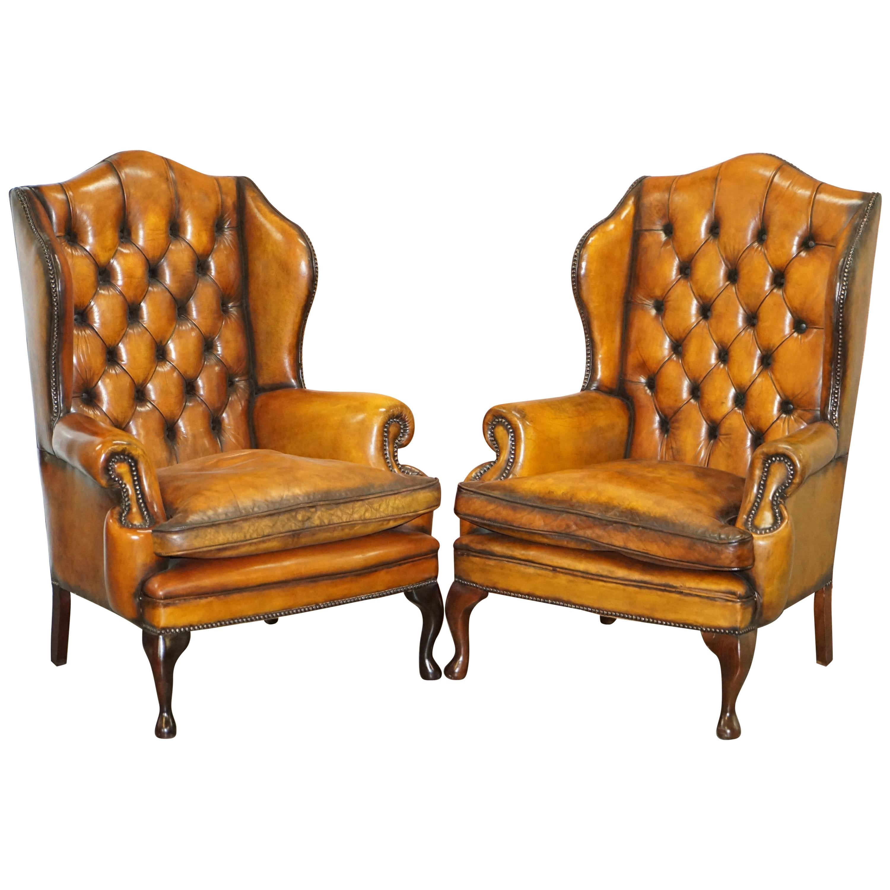 Pair of Chesterfield William Morris Wingback Armchairs Cigar Brown Leather