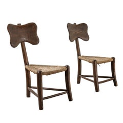 Pair of Chestnut Wood and Rattan Chairs by Rossi Rugerro, 1940s