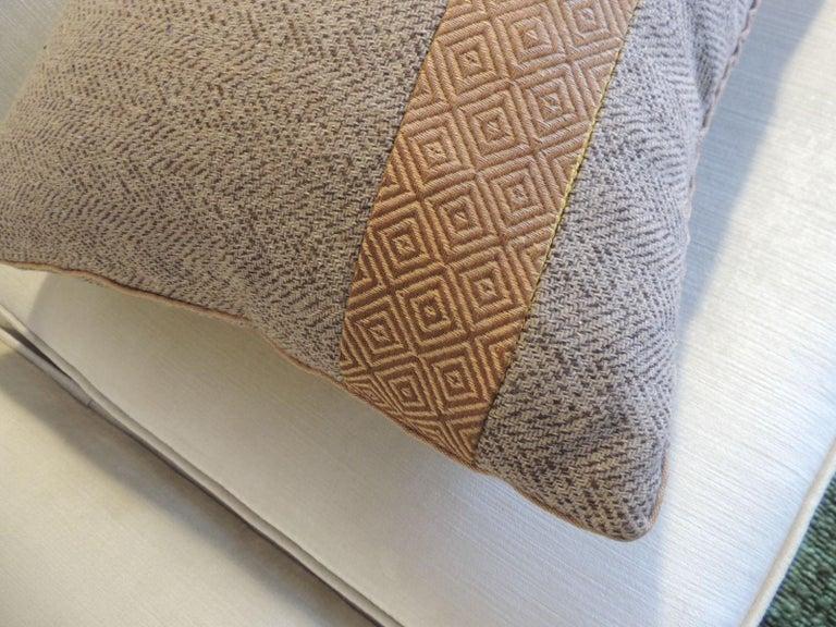 Tribal Pair of Chevron Pattern Brown Vintage Textile Decorative Pillows For Sale