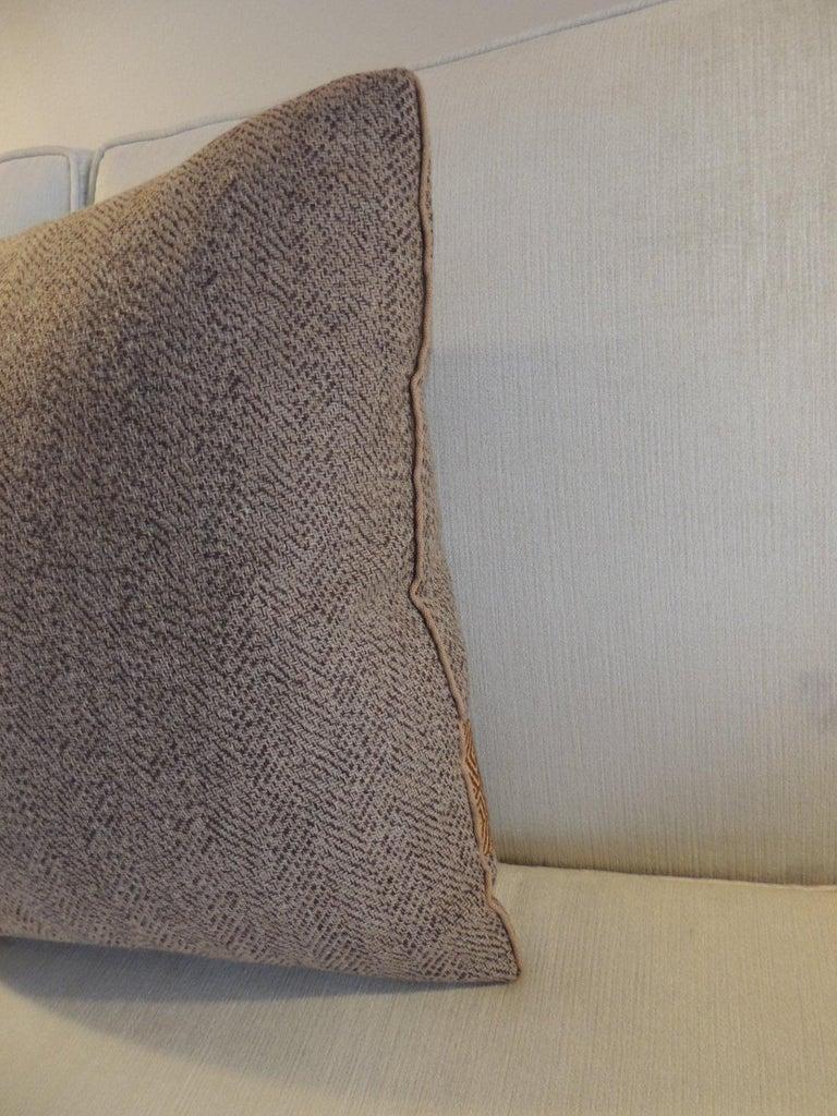 American Pair of Chevron Pattern Brown Vintage Textile Decorative Pillows For Sale