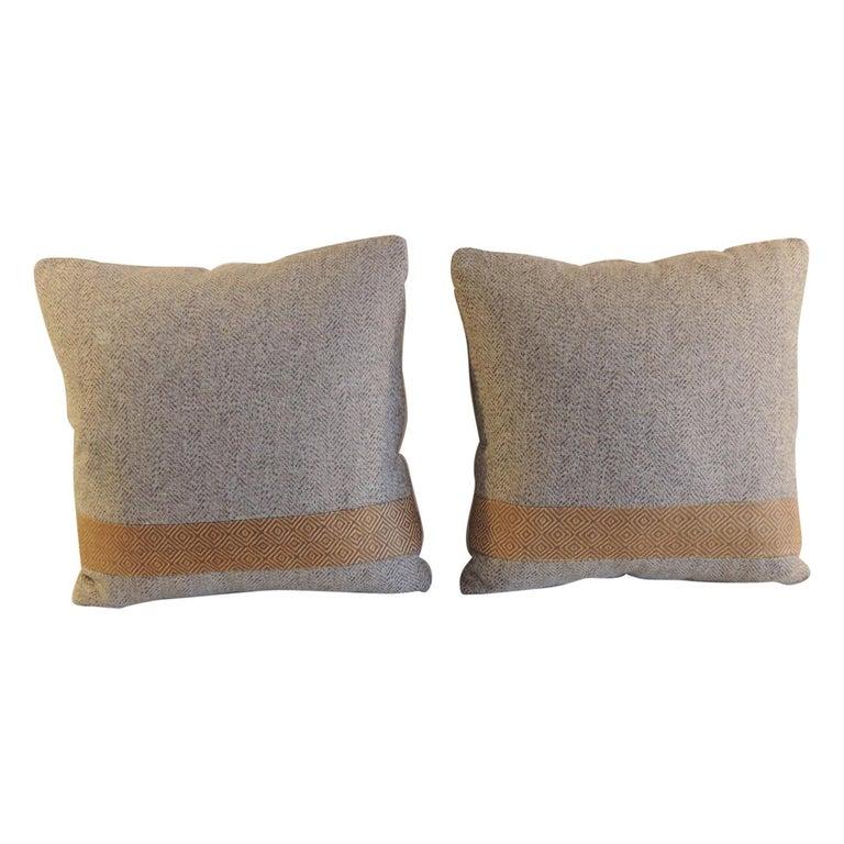 Pair of Chevron Pattern Brown Vintage Textile Decorative Pillows For Sale