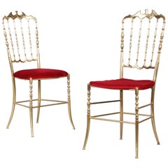 Pair of Chiavari Brass Chairs