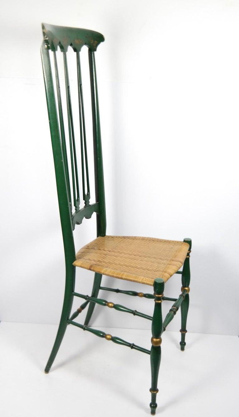 Pair of Chiavari Chairs, 1950s Italian Design, Original Paint and Cane Seats For Sale 4