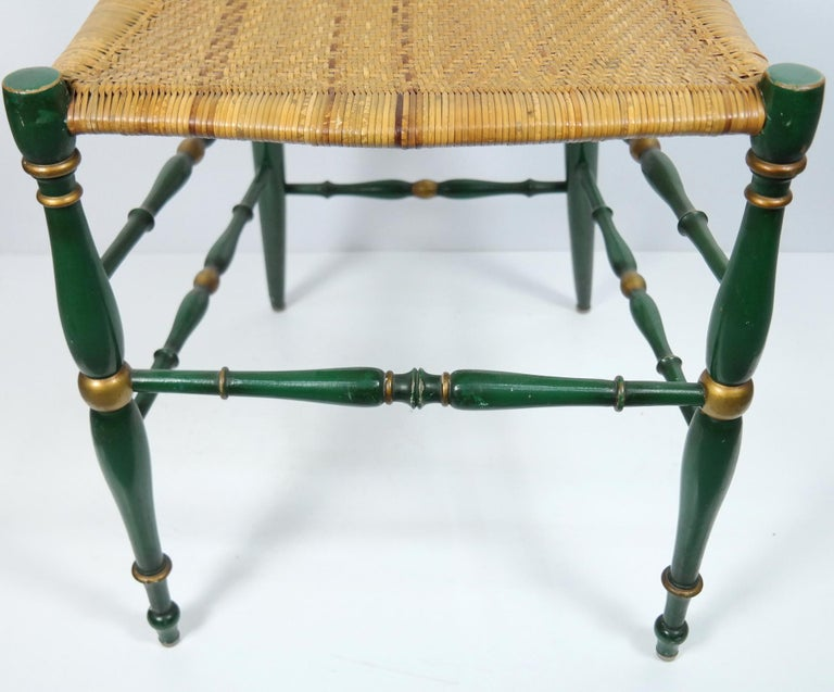 Pair of Chiavari Chairs, 1950s Italian Design, Original Paint and Cane Seats For Sale 6