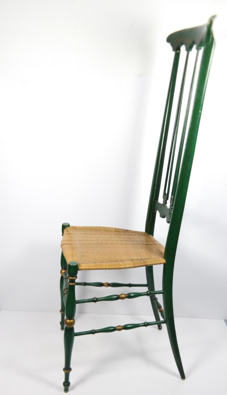 Pair of Chiavari Chairs, 1950s Italian Design, Original Paint and Cane Seats For Sale 9