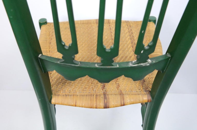 Pair of Chiavari Chairs, 1950s Italian Design, Original Paint and Cane Seats For Sale 11