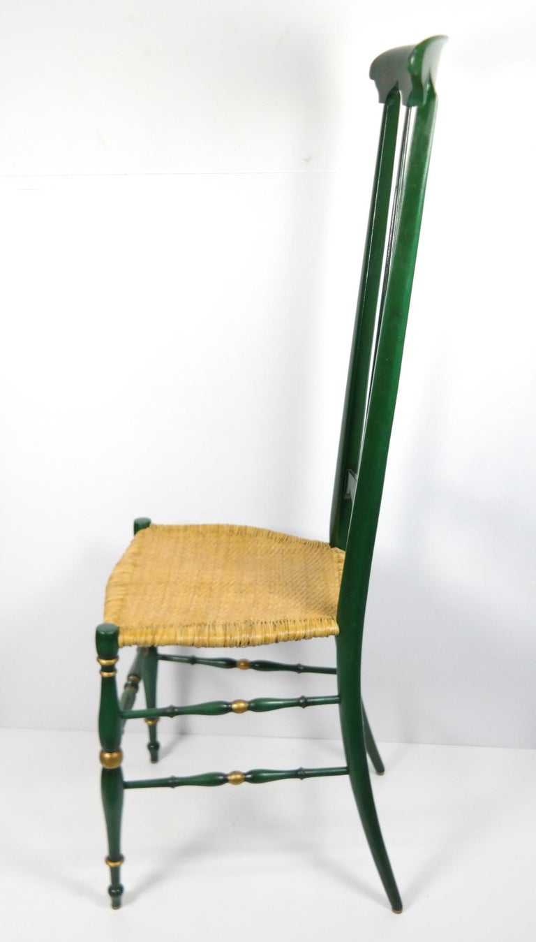 Hollywood Regency Pair of Chiavari Chairs, 1950s Italian Design, Original Paint and Cane Seats For Sale