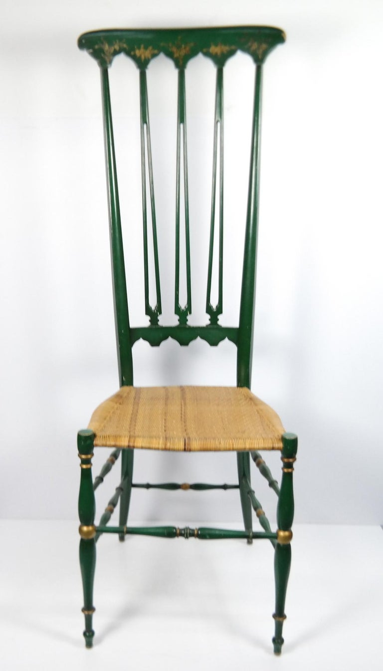 Pair of Chiavari Chairs, 1950s Italian Design, Original Paint and Cane Seats In Good Condition For Sale In Budapest, HU