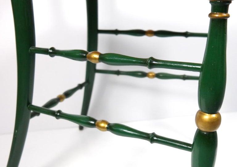 Pair of Chiavari Chairs, 1950s Italian Design, Original Paint and Cane Seats For Sale 1