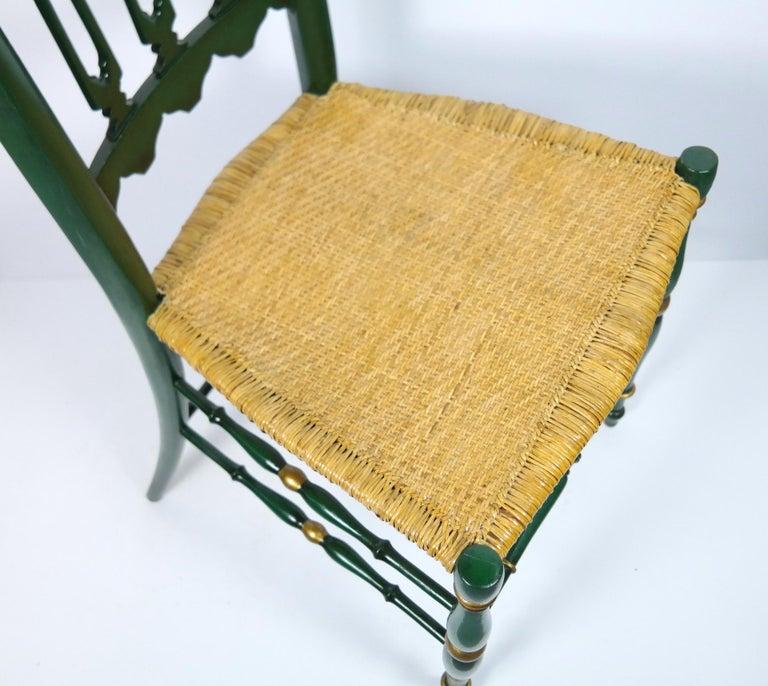 Pair of Chiavari Chairs, 1950s Italian Design, Original Paint and Cane Seats For Sale 2