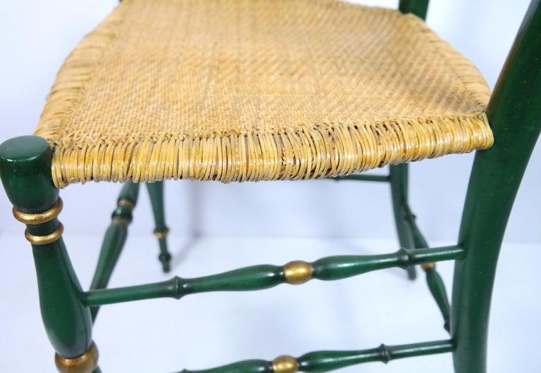 Pair of Chiavari Chairs, 1950s Italian Design, Original Paint and Cane Seats For Sale 3