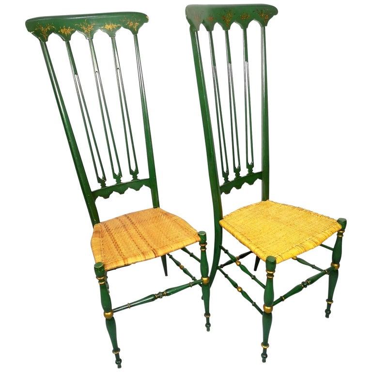 Pair of Chiavari Chairs, 1950s Italian Design, Original Paint and Cane Seats For Sale