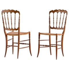 Pair of Chiavari Chairs in Beech and Cane, F.lli Zunino & Rivarola, Italy, 1950s