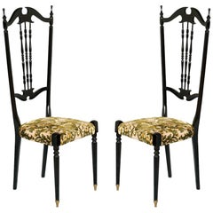 Pair of Chiavari High Back Chairs by Gaetano Descalzi, Italy in Mahogany