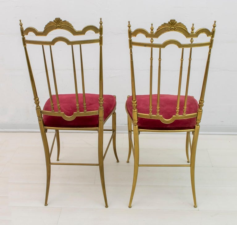 Mid-20th Century Pair of Chiavari Mid-Century Modern Italian Brass Chairs