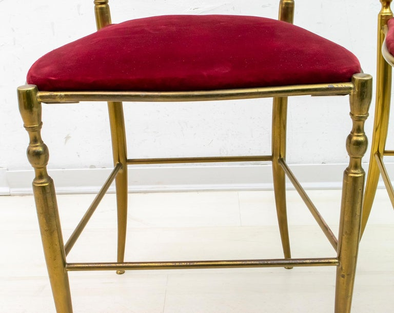 Pair of Chiavari Mid-Century Modern Italian Brass Chairs