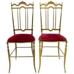 "Pair of Chiavari Mid-Century Modern Italian Brass Chairs ""Him and Her"", 1950s"