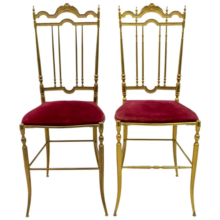 "Pair of Chiavari Mid-Century Modern Italian Brass Chairs ""Him and Her"", 1950s For Sale"