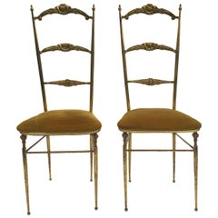 Mid-Century Pair Of Chiavari Style Brass Ladder Accent Side Chairs, 1950s