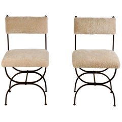 Pair of Chic 'Arcade' Wrought Iron and Shearling Chairs by Design Frères