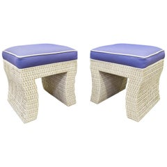 Pair of Chic Benches in Wicker in the Style of Karl Springer, 1970s
