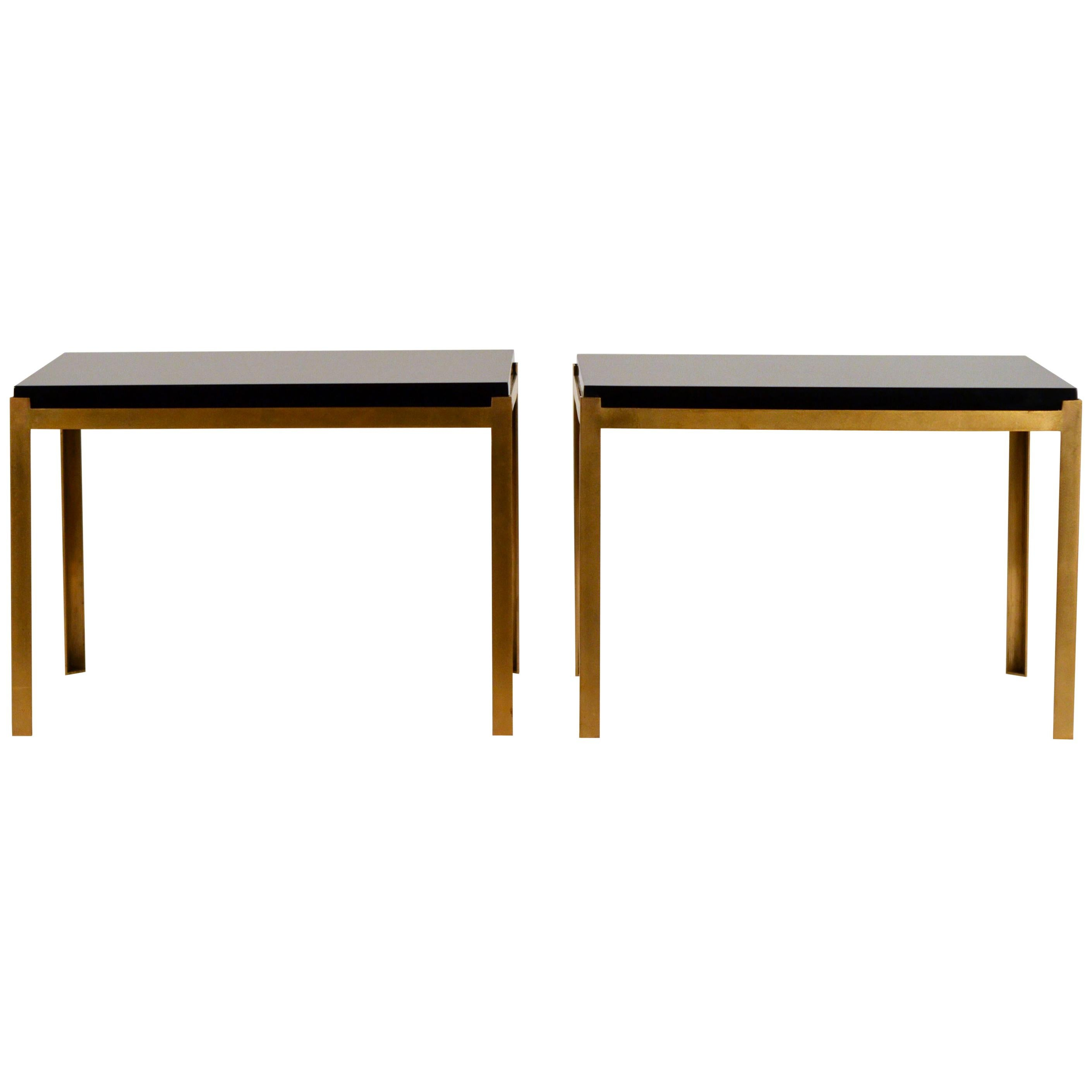 Pair of Chic 'Caisson' Solid Brass and Black Lacquer End Tables by Design Frères