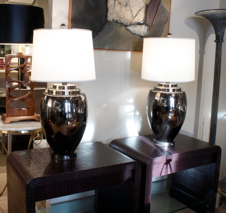 Pair of Chic Ceramic Table Lamps with Gunmetal Glaze, 1970s In Excellent Condition For Sale In New York, NY