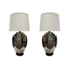 Pair of Chic Ceramic Table Lamps with Gunmetal Glaze, 1970s