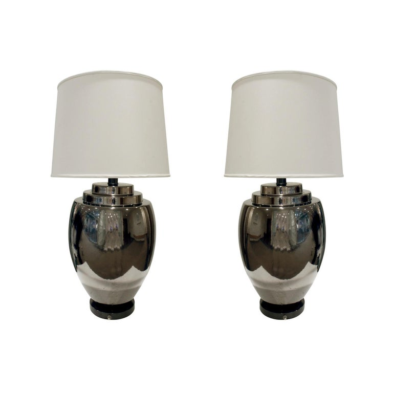 Pair of Chic Ceramic Table Lamps with Gunmetal Glaze, 1970s For Sale