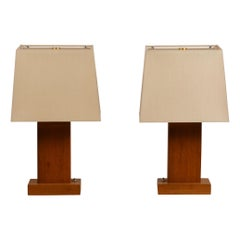 Pair of Chic Cubist Bedside / Table Lamps with Custom Silk Shades