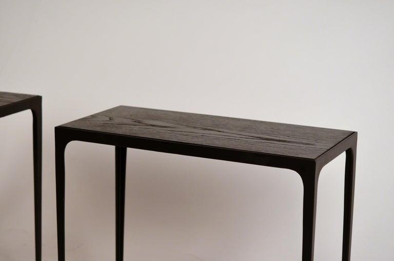 Art Deco Pair of Chic Ebonized Oak 'Esquisse' Side Tables by Design Frères For Sale